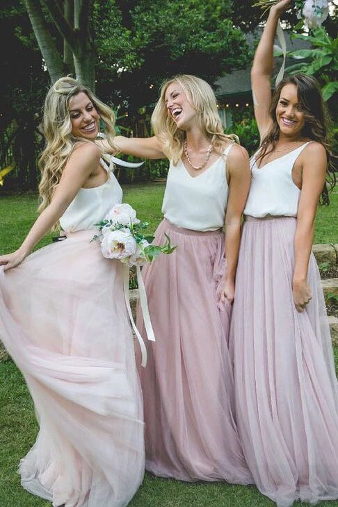 Gorgeous Two Piece Pink Tulle Long Bridesmaid Dress with White Top PFB0111