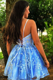 Promfast A Line Spaghetti Straps Blue Criss-Cross Homecoming Dress With Appliques PFP1921