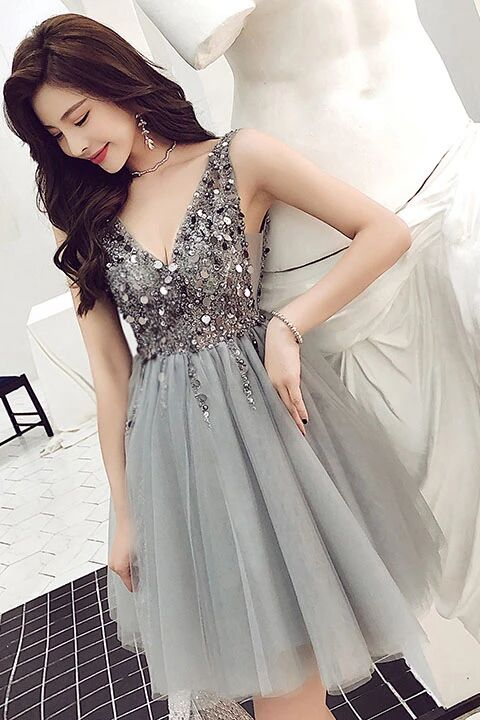A Line V Neck Sparkle Short Grey Backless Homecoming Dresses Party Dress PFH0219