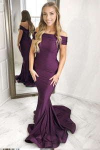New Arrival Mermaid Off-the-Shoulder Sweep Train Grape Prom Dress PFP0066
