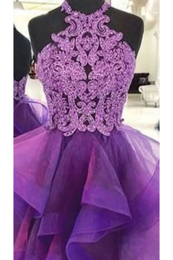 A Line Halter Purple Homecoming Dresses, Short Prom Dress With Lace PFH0220