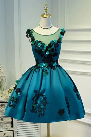 A Line Flower Appliques Round Neck Homecoming Dresses, Blue Short Prom Dress PFH0222