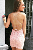 Promfast Tie Back Appliqued Sheath Pink Short Prom Dress Homecoming Dress PFP1922
