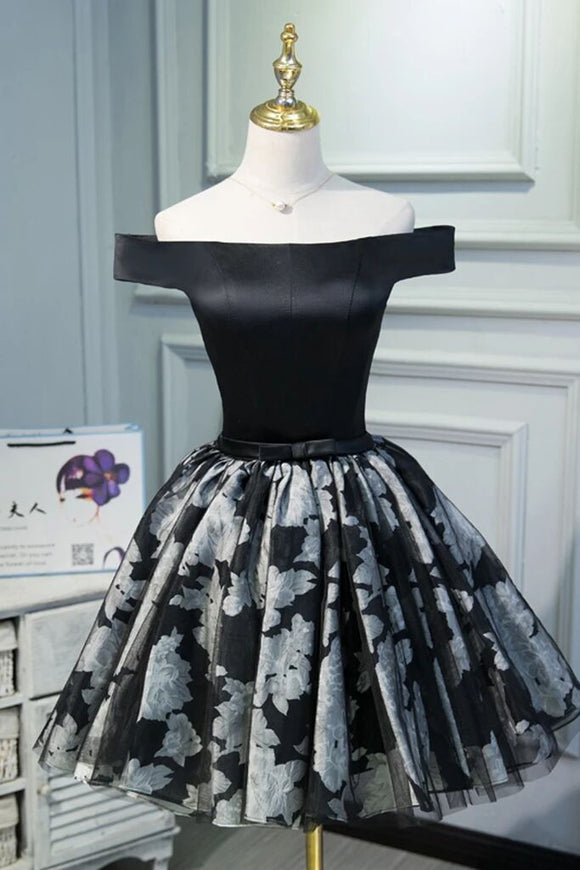 A Line Black Off the Shoulder Homecoming Dresses, Short Prom Dress PFH0224
