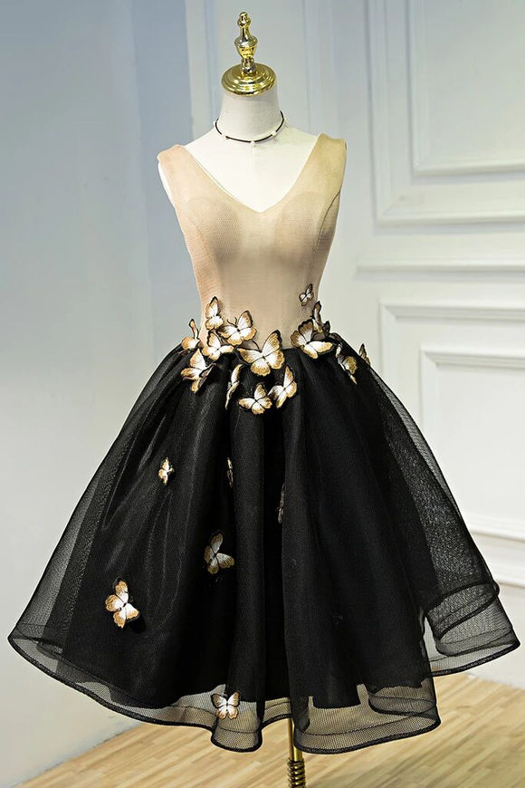 A Line Black V Neck Homecoming Dresses, Sleeveless Prom Dress With Butterfly PFH0225