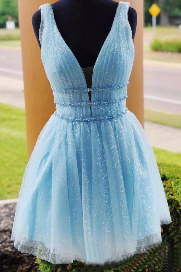 Sky Blue Beaded Backless Homecoming Dresses, Short Graduation Dress PFH0229