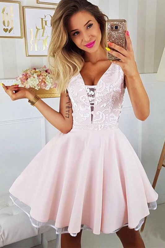 Pink Appliqued A Line Homecoming Dresses V Neck Short Hoco Dress PFH0230