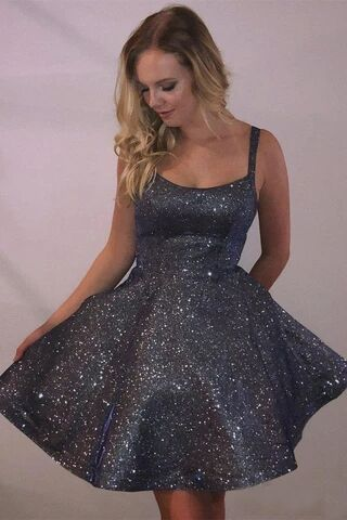 Cheap Spaghetti Strap Dark Grey Sparkly Homecoming Dresses with Pocket PFH0231