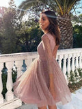 Pink Sequins Long Sleeve Short Homecoming Dresses Backless Formal Dress PFH0232