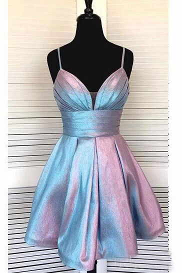 Spaghetti Strap Short Homecoming Dresses V-neck A Line Party Dress PFH0233