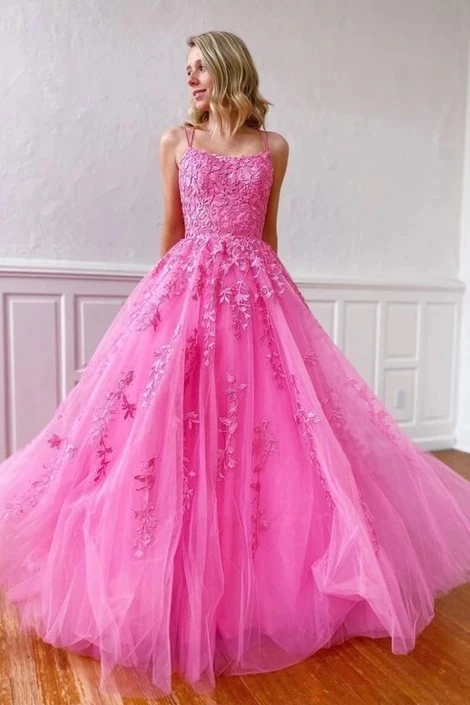 Anneprom Lace Appliques Long Prom Dresses Long Dance Dress, Formal Dress, Graduation School Party Gown PFP1923