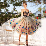 Sweetheart Butterfly Lace Tulle Knee length Ball Gown Homecoming Dress,Graduation Dresses PFH0145