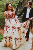 Princess A Line Strapless Tulle Long Prom Dress with Floral Appliques PFP0070