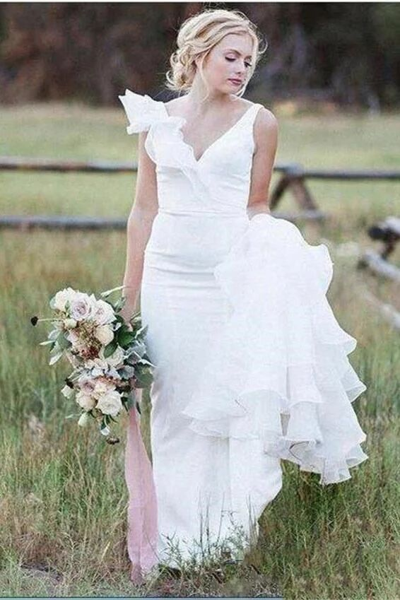 V Neck Backless Sheath White Wedding Dresses Long Simple Bridal Dresses PFW0385