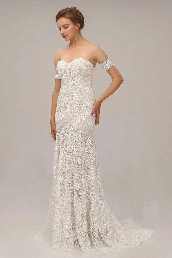Charming Ivory Lace Mermaid Beach Wedding Dresses Sweetheart Boho Bridal Dresses PFW0386