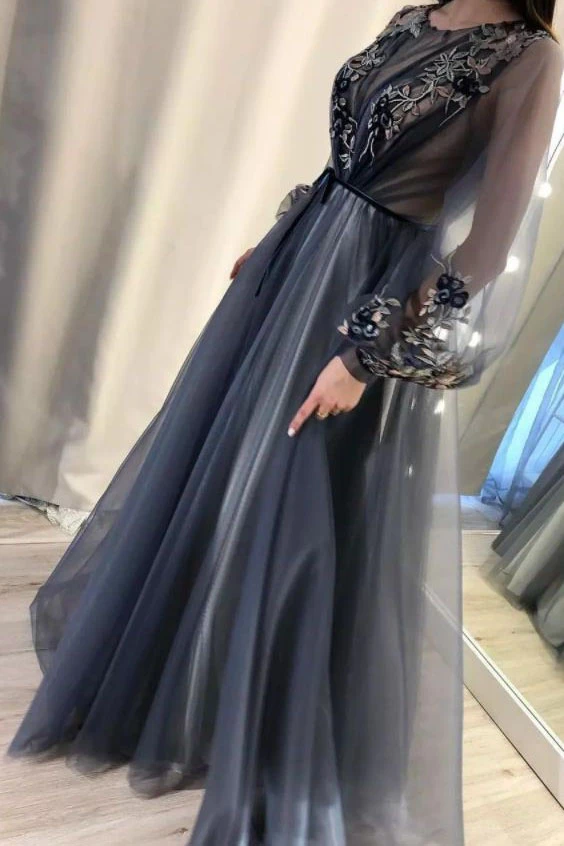 Anneprom A Line Long Sleeves Appliques Prom Dresses, Formal Evening Dresses PFP1925