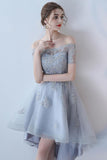 Off the Shoulder Organza A Line High Low Short Sleeves Lace Top Homecoming Dresses