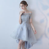 Off the Shoulder Organza A Line High Low Short Sleeves Lace Top Homecoming Dresses PFH0146