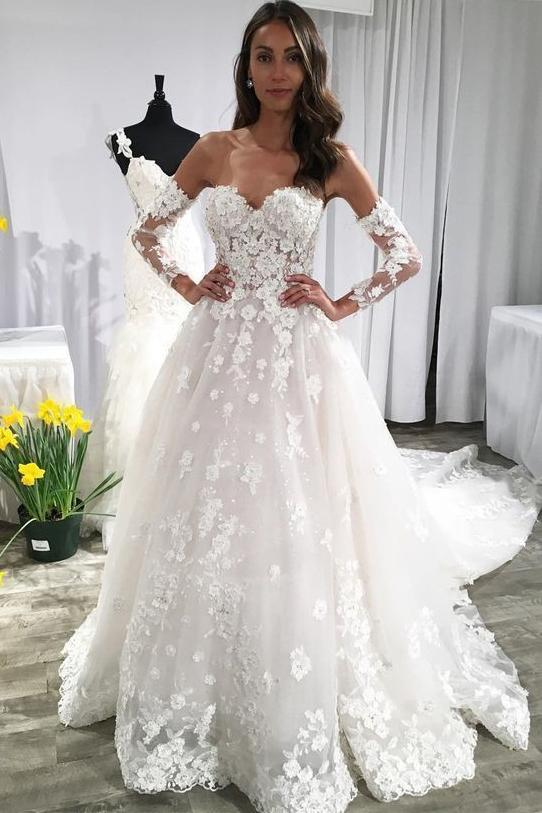 Long Sleeves Ivory Lace Appliques Backless Long Wedding Dress with Train PFW0029