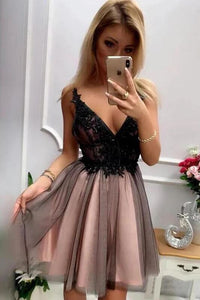 Stylish A Line V Neck Gray Short Homecoming Dresses With Appliques PFH0238