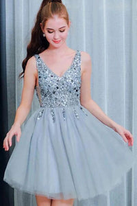 Bling A Line V Neck Light Blue Short Homecoming Dresses With Beading PFH0239