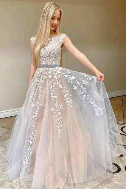 Anneprom A Line Cap Sleeves Lace Appliques Beaded Prom Dresses, School Party Gown PFP1927