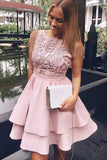 Pretty Bateau Short Pink Satin Homecoming Party Dresses with Appliques PFH0243