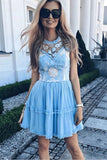 Elegant Jewel Short Cheap Light Blue Tulle Homecoming Party Dresses with Lace PFH0244