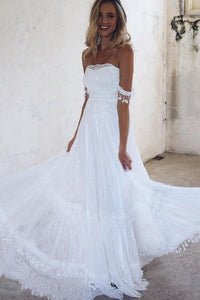 A-Line Off-the-Shoulder Lace White Beach Wedding Dress with Appliques PFW0030