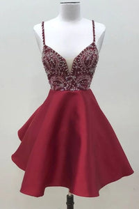 Spaghetti Straps Dark Red Short Prom Dress Homecoming Dress PFH0255