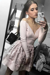 A-line Nude Long Sleeve Short Homecoming Party Dress with Flowers PFH0257