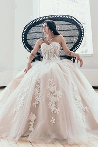 Princess Sweetheart Lace Appliques Long Ball Gown Wedding Dresses PFW0031