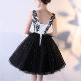 Black Tulle A Line Beading Short Bateau Homecoming Dresses With Lace Top PFH0147