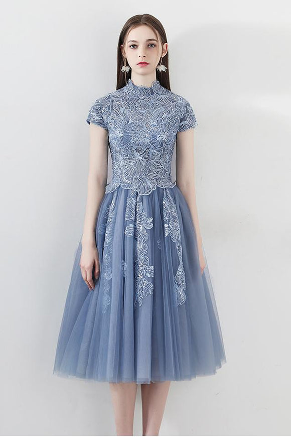 Blue A Line Tulle Cap Sleeves High Neck Homecoming Dresses With Lace Appliques