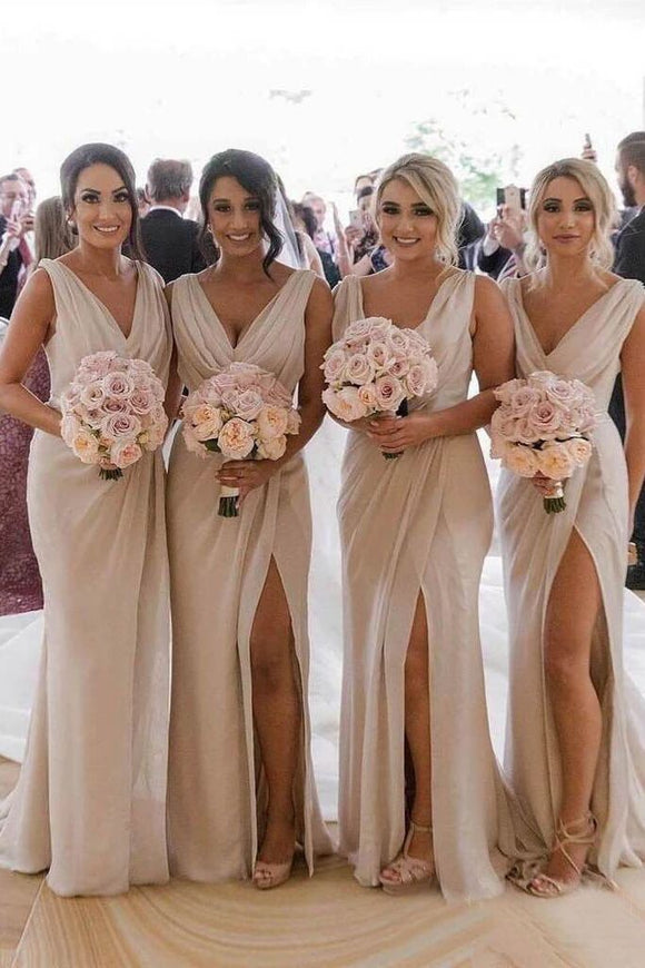 Simple Sheath Long Bridesmaid Dresses with Slit, Wedding Party Dress PFB0120