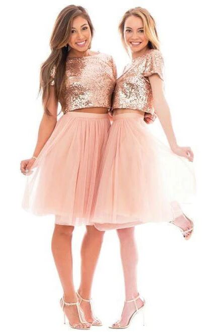 Two Piece Pink Bridesmaid Dresses Short Sleeve Knee Length Wedding Guest Dresses PFB0121