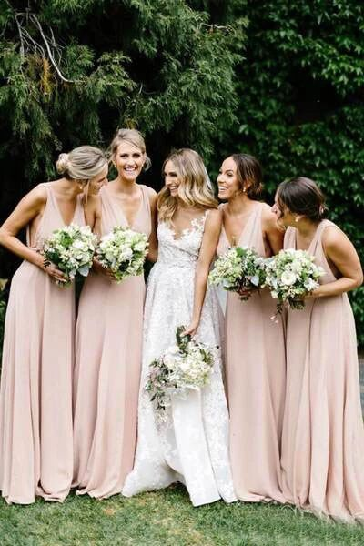Simple V Neck Light Pink Bridesmaid Dresses Long Chiffon Maxi Dress PFB0123