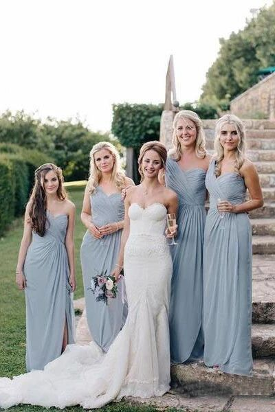 Long One Shoulder Cheap Dusty Blue Bridesmaid Dresses with Slit PFB0124