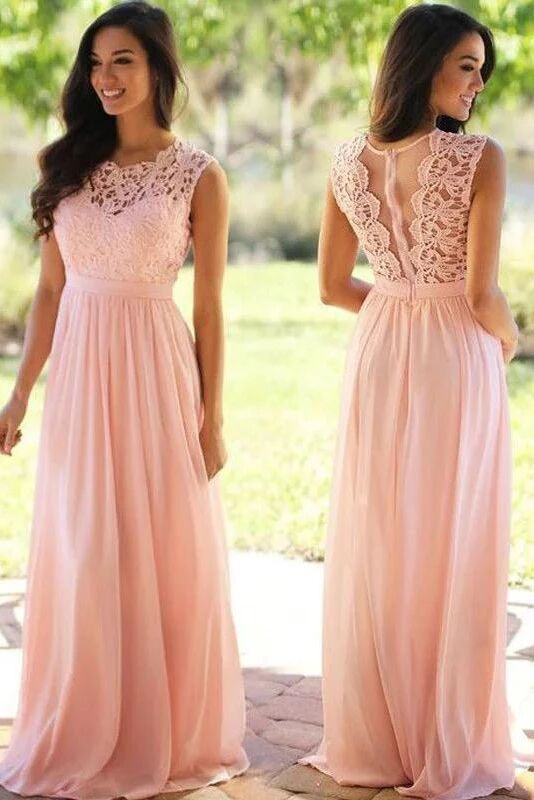 Pink Bridesmaid Dresses Lace Top Long Chiffon Wedding Party Dresses PFB0125