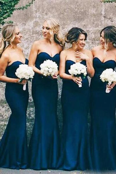 Sweetheart Mermaid Navy Blue Bridesmaid Dresses Wedding Party Dress PFB0127