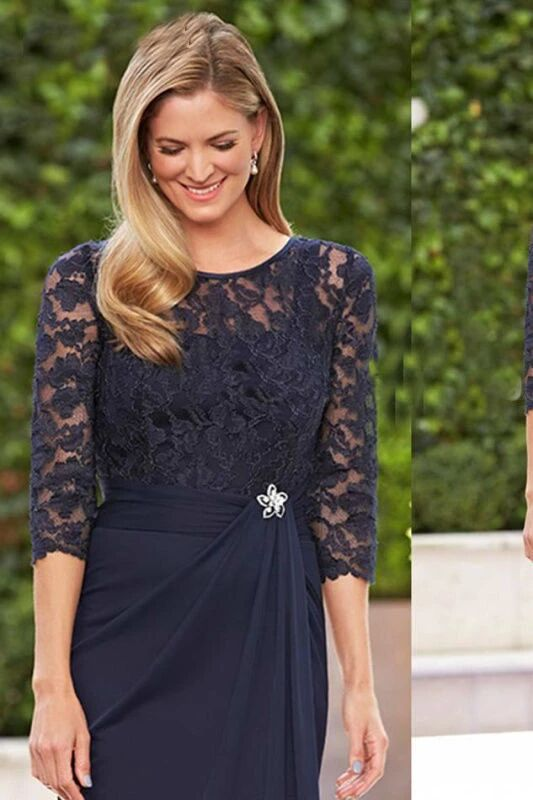 Elegant Navy Blue Lace half Sleeves Chiffon Short Mother of the Bride Dresses PFM0002