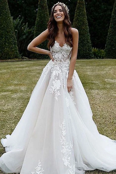 Promfast Sweetheart Tulle A Line Appliques Wedding Dresses with Lace,Beach Wedding Gown PFW0463