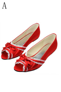 Beautiful Lace Red Peep Toe Handmade Wedding Shoes With Bow Knot PFWS0007
