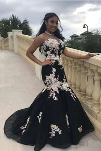 Black Mermaid Prom Dresses Strapless Embroidery Applique Sexy Prom Dresses PFP1517