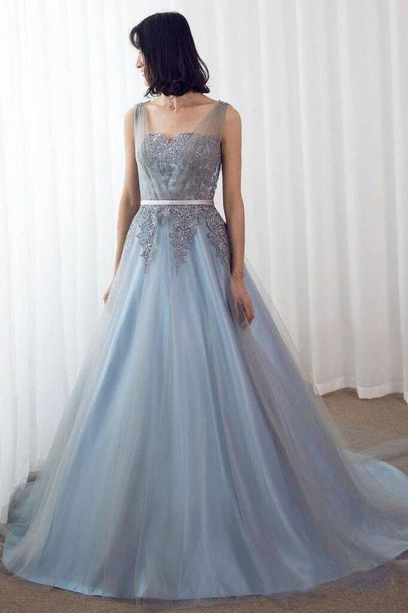 Sky Blue Formal Long Lace Appliqued Gray Tulle Prom Dresses Cheap Quinceanera Dresses PFP1519