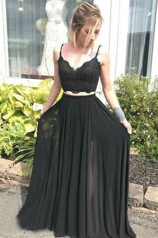 Spaghetti Strap V Neck Two Piece Long Prom Dresses Black Lace Evening Dress PFP1521