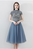 Blue A Line Tulle Short Sleeves High Neck Appliques Homecoming Dresses