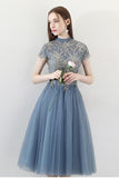 Blue A Line Tulle Short Sleeves High Neck Appliques Homecoming Dresses PFH0149