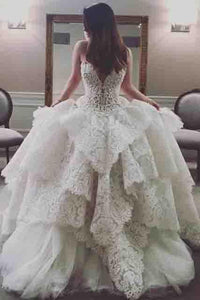 Princess A-Line Sweetheart Floor-Length Ivory Tulle Wedding Dress with Lace PFW0034