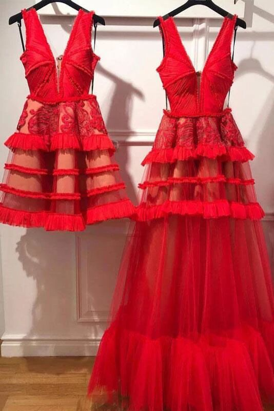 Charming Red V Neck Tulle Long Prom Dress, Evening Ddress PFP1539